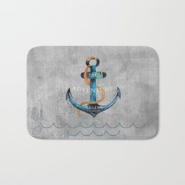Maritime Design- Nautic Anchor Navy Marine Beach Bath Mat