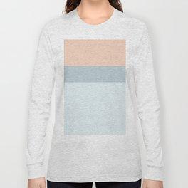 Modern  pastel coral blue color block stripes Long Sleeve T-shirt