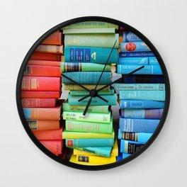 Rainbow Stacks of Vintage Books Wall Clock