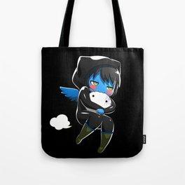 Fuzzy Chibi Luc (Expression 2) w/ Black Background Tote Bag