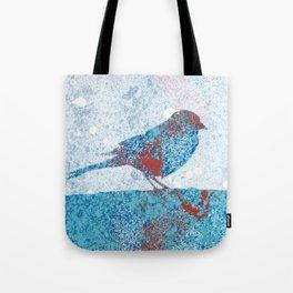 Blue Bird in Winter Tote Bag