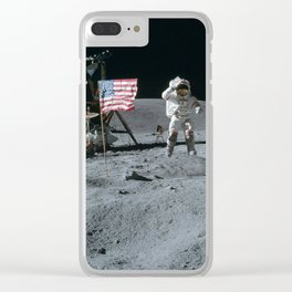 Apollo 16 - Astronaut Moon Jump Clear iPhone Case