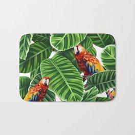 tropical leaves macaw pattern Bath Mat
