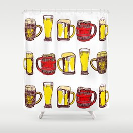 Beer Mugs Shower Curtain