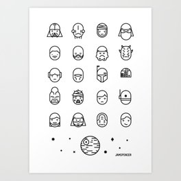 Sci Fi Characters Simplified Art Print