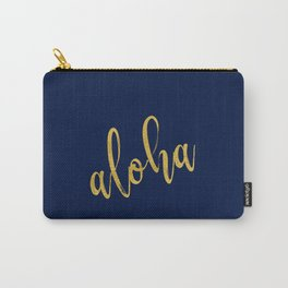 Aloha gold brush script on midnight navy blue glam summer design Carry-All Pouch