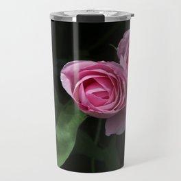 Pink and Dark Green Roses on Black Travel Mug