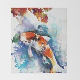 Koi Fish in the Pond - Zen Watercolor Throw Blanket