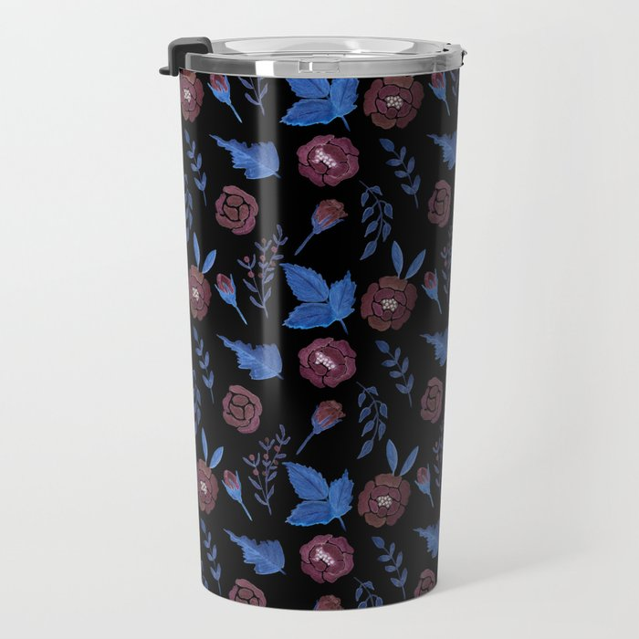 Watercolor floral red roses print on black Travel Mug