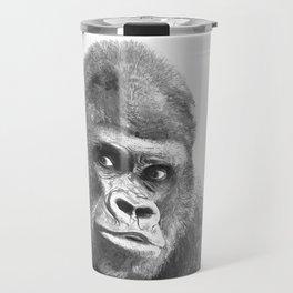 Black and White Gorilla Travel Mug