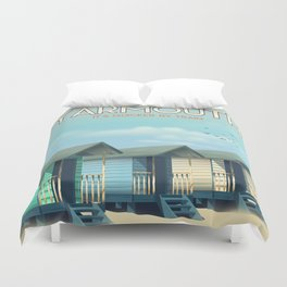 Great Yarmouth Beach travel poster Duvet Cover