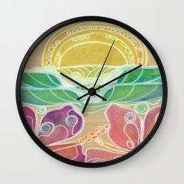 Double Hibiscus Surf Art by Lauren Tannehill Art Wall Clock