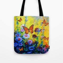 MONARCH BUTTERFLIES HOLLYHOCK YELLOW ART Tote Bag
