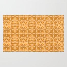 Ethnic tile pattern orange Rug