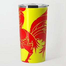 Flag of wallonia - Drapeau wallon,wallonie,Belgique,Belge,Bruxelles,France,Mons,Charleroi,coq,jaune Travel Mug