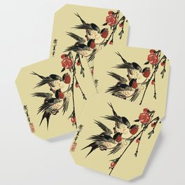 Moon Swallows and Peach Blossoms Coaster