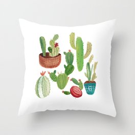 A Family Of Cacti Throw Pillow