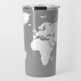 Minimalist World Map in Grey Travel Mug
