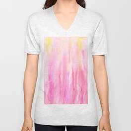 Watercolor Abstract Pink Pattern Unisex V-Neck