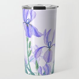 purple iris watercolor Travel Mug