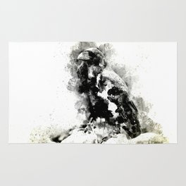 Watercolor Crow, Black and White Crow, Crow Painting, Cool Crow, Ink Crow Rug