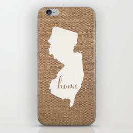 New Jersey is Home - White on Burlap iPhone Skin