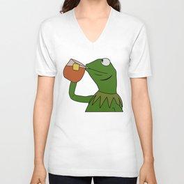 Kermit Inspired Meme King Sipping Tea Unisex V-Neck