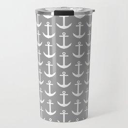 Grey and White Nautical - Beach Cottage - Gray Anchor Travel Mug