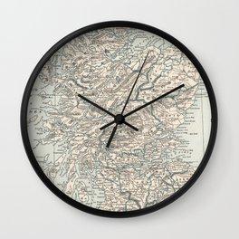 Vintage Map of Scotland (1893) Wall Clock
