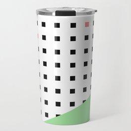 Squares Pattern Dipped in Green Travel Mug