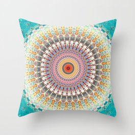 Teal Orange Yellow Boho Mandala Throw Pillow
