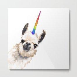 Sneaky Unicorn Llama White Metal Print