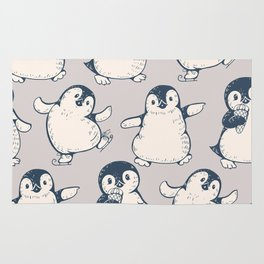 Monochrome seamless pattern with cute penguins. Hand-drawn illustration Rug