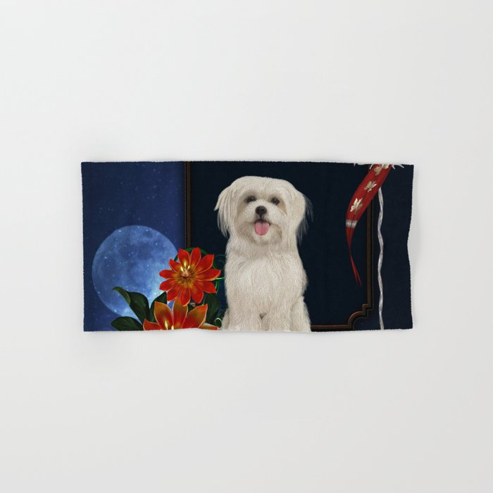 Cute little havanese puppy with flowers Hand & Bath Towel