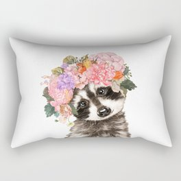 Baby Raccoon with Flowers Crown Rectangular Pillow