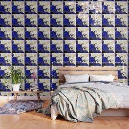 blue ,gold,rose,black,golden fractal, vibrations, circles modern pattern, Wallpaper