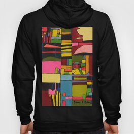 Colors in Collision 2 - Geometric Abstract in Blue Yellow Pink and Green Hoody