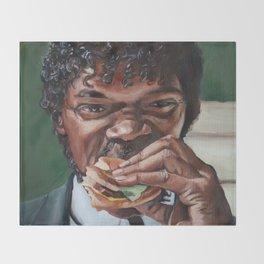 Jules Eat A Big Kahun Burger - Pulp Fiction Painting Throw Blanket