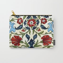 Tile with Carnations Carry-All Pouch