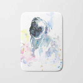 Pug Puppy in Splashy Watercolor Bath Mat