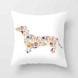 Dachshund - Watercolor/Floral Throw Pillow