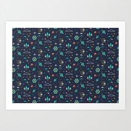 Lets take a walk (it's dark) pattern Art Print