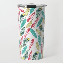 Modern red teal green watercolor bohemian feathers Travel Mug