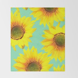 Sunflowers on a pastel green backgrond - #Society6 #buyart Throw Blanket