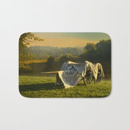 Civil War canon and limber in the early morning mist. Bath Mat