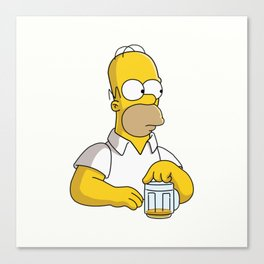 HOMER WITH BEER Canvas Print