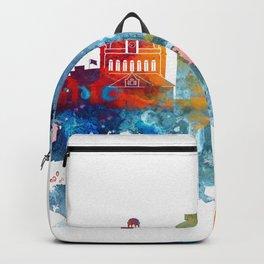 Colorful watercolor Lexington skyline Backpack