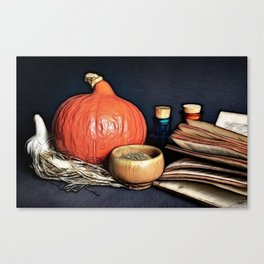 Attributes of a witch profession on table Canvas Print