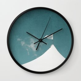 White Circus Tent and Teal Blue Sky Wall Clock