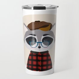 Hipster Raccoon Travel Mug